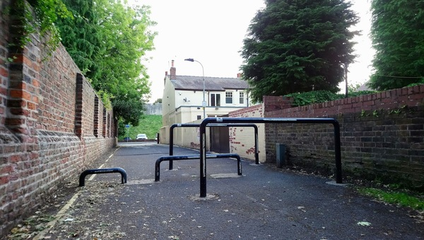 The photo for Inaccessible Barriers on Scarcroft Lane.